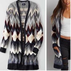 American Eagle Chevron Draped Cardigan Sweater XS